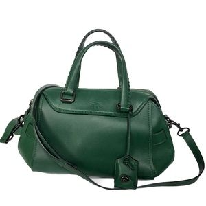 Coach Ace Satchel In Green Glovetanned Leather